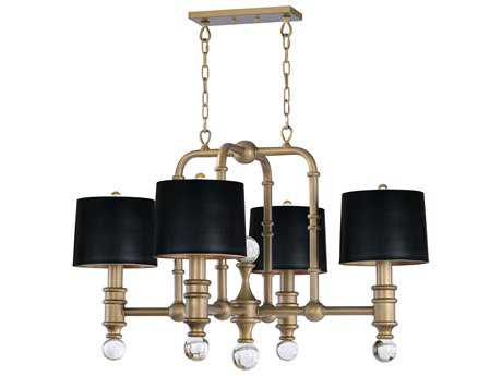 Maxim Lighting Saloon Weathered Brass with Clear Glass Four-Light 42'' Wide Grand Chandelier
