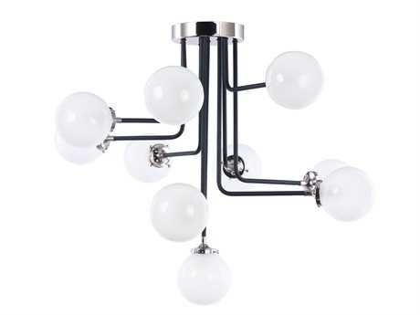 Maxim Lighting Atom Black and Polished Nickel Ten-light 38'' Wide Semi Flush Mount Light