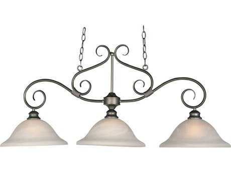 Maxim Lighting Pacific Pewter & Marble Glass Three-Light 44'' Long Island Light