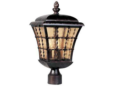 Maxim Lighting Orleans Oil Rubbed Bronze & Amber Seedy Glass Three-Light 9.5'' Wide Outdoor Post Light