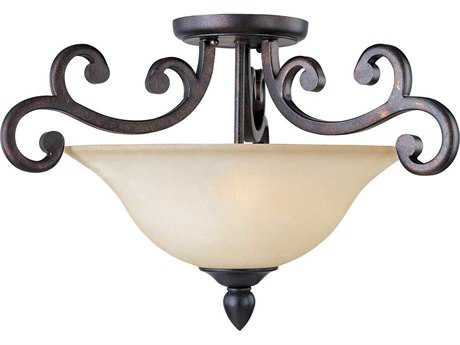 Maxim Lighting Richmond Colonial Umber & Wilshire Three-Light 22.5'' Wide Semi-Flush Mount Light