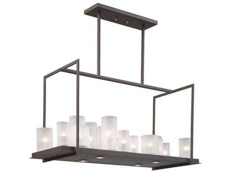 Maxim Lighting Urban Nights Textured Black & Frosted Glass 20-Light 37'' Long Island Light