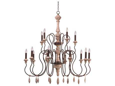 Grand Chandelier Maxim Lighting Olde World Senora Wood 15-Lights 30'' Wide Grand Chandelier