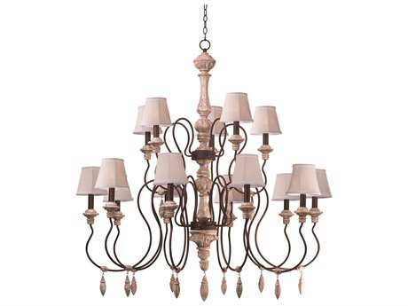 Grand Chandelier Maxim Lighting Olde World Senora Wood 15-Lights 46'' Wide Grand Chandelier