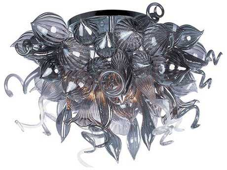 Maxim Lighting Mimi Polished Chrome & Fume Glass 12-Light 34'' Wide LED Semi-Flush Mount Light