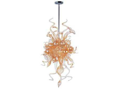 Maxim Lighting Mimi Polished Chrome & Cognac Glass Six-Light 25'' Wide LED Pendant Light