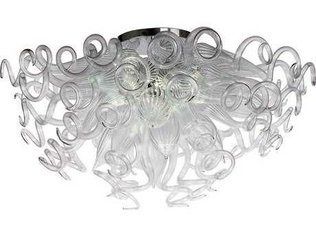 Maxim Lighting Taurus Polished Chrome & Clear Glass 12-Light 33'' Wide LED Semi-Flush Mount Light