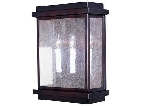 Maxim Lighting Cubes Burnished & Seedy Glass Three-Light 12'' Wide Outdoor Wall Light