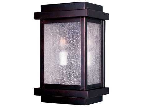 Maxim Lighting Cubes Burnished & Seedy Glass Two-Light 7'' Wide Outdoor Wall Light