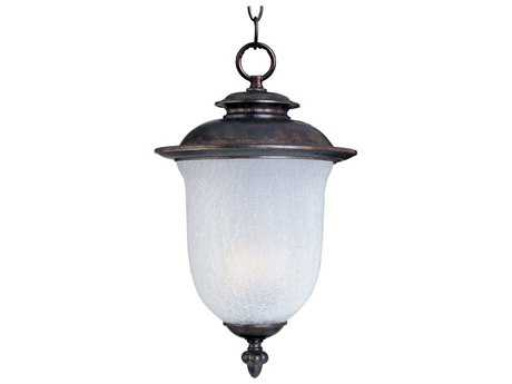 Maxim Lighting Cambria Chocolate & Frost Crackle Glass 13'' Wide LED Outdoor Hanging Light