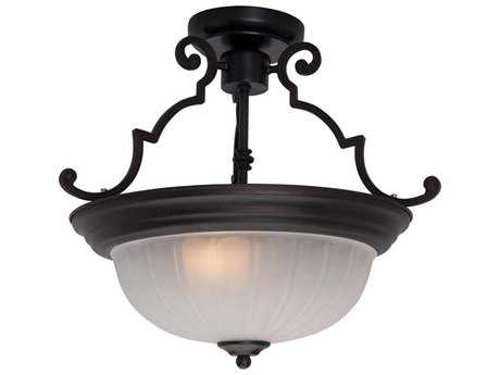 Maxim Lighting Essentials-583x Oil Rubbed Bronze & Frosted Glass Two-Light 14.5'' Wide Semi-Flush Mount Light