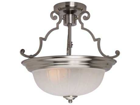 Maxim Lighting Essentials-583x Satin Nickel & Frosted Glass Two-Light 14.5'' Wide Semi-Flush Mount Light