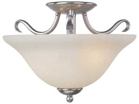 Maxim Lighting Basix Satin Nickel & Ice Glass Two-Light 14'' Wide Fluorescent Semi-Flush Mount Light