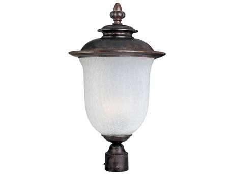 Maxim Lighting Cambria Chocolate & Frost Crackle Glass 13'' Wide Fluorescent Outdoor Post Light