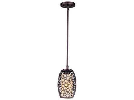 Maxim Lighting Meridian Umber Bronze & Dusty White Glass 7'' Wide Mini-Pendant Light