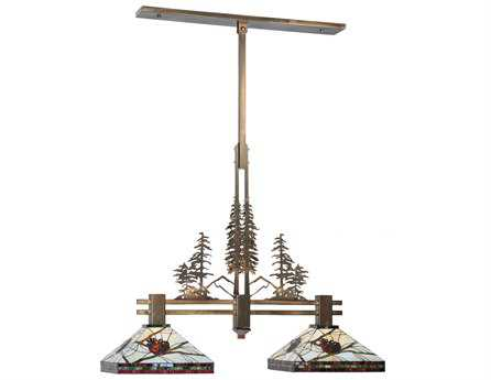 Meyda Tiffany Burgundy Pine Branch Mission Tall Pines Two-Light Island Light