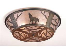Meyda Tiffany Northwood's Wolf On The Loose Four-Light Flush Mount Light