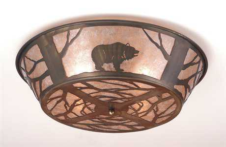 Meyda Tiffany Grizzly Bear On The Loose Four-Light Flush Mount Light