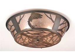 Meyda Tiffany Northwood's Leaping Trout Four-Light Flush Mount Light