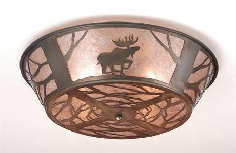 Meyda Tiffany Northwood's Moose On The Loose Four-Light Flush Mount Light