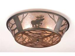 Meyda Tiffany Northwood's Moose On The Loose Four-Light Flush Mount Light