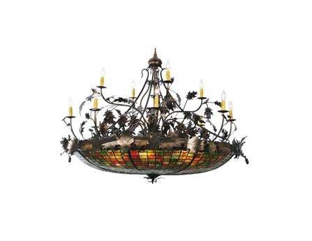Meyda Tiffany Greenbriar Oak 12 Arm 15-Light 50 Wide Grand Chandelier