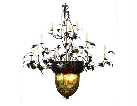 Meyda Tiffany Greenbriar Oak 12 Arm 2 Tier 15-Light 63 Wide Grand Chandelier