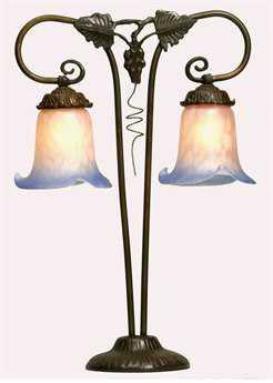 Meyda Tiffany Twin Grapevine Pink & Blue Table Lamp