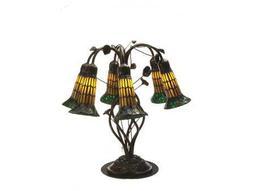 Meyda Tiffany Pond Lily Amber & Green Table Lamp