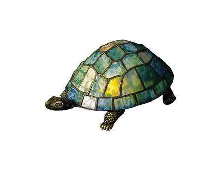 Meyda Tiffany Turtle Tiffany Glass Multi-Color Accent Table Lamp