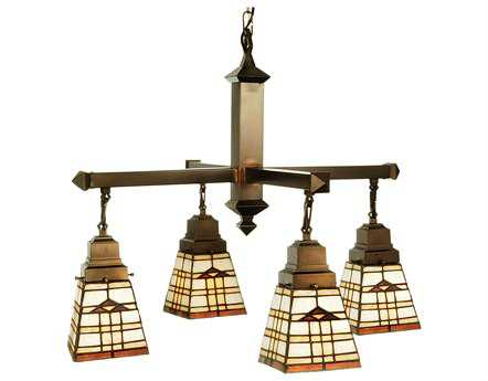 Meyda Tiffany Arrowhead Mission Four-Light 26 Wide Chandelier