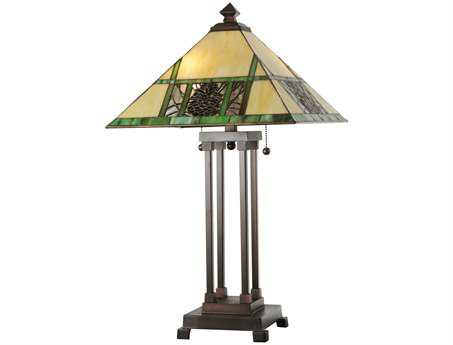 Meyda Tiffany Pinecone Ridge Beige Table Lamp