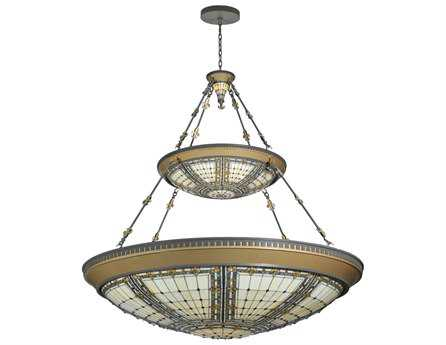 Meyda Tiffany Fleur-De-Lis 2 Tier 14-Light Inverted Pendant Light
