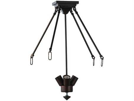 Meyda Tiffany Simple Canopy Three-Light Semi-Flush Mount Light with Rod