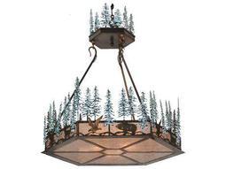 Meyda Tiffany Wildlife At Pine Lake Inverted Three-Light Pendant Light