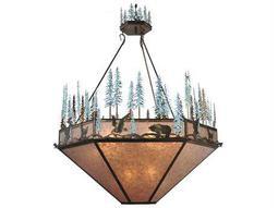 Meyda Tiffany Wildlife At Pine Lake Inverted Nine-Light Pendant Light