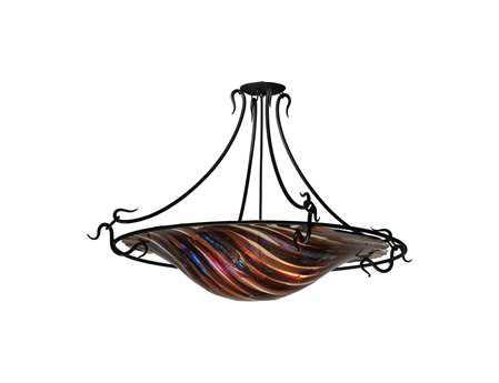 Meyda Tiffany Metro Fusion Marina Handkerchief Three-Light Semi-Flush Mount Light