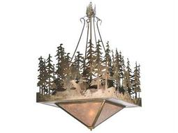Meyda Tiffany Deer At Lake Five-Light Inverted Pendant Light