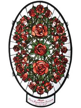 Meyda Tiffany Personalized Oval Rose Garden Stained Glass Window