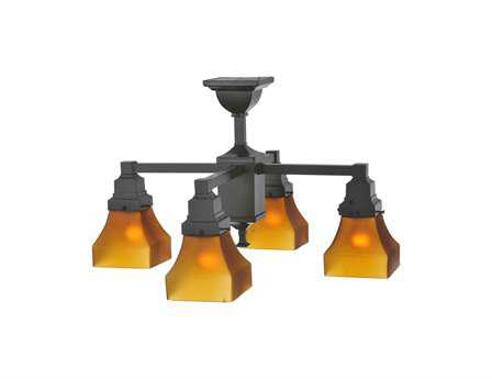 Meyda Tiffany Bungalow Frosted Amber Four-Light 24 Wide Mini-Chandelier