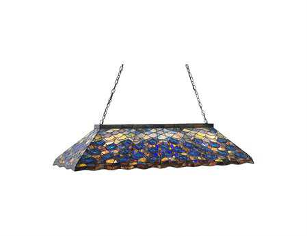 Meyda Tiffany Peacock Nine-Light Oblong Pendant Light