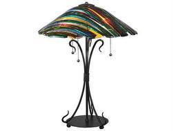 Meyda Tiffany Penna Di Pavone Fused Glass Multi-Color Table Lamp