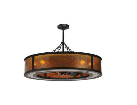 Meyda Tiffany Smythe Craftsman Amber Mica Eight-Light Chandel-Air