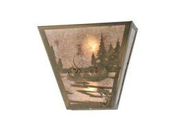 Meyda Tiffany Fly Fishing Creek with Dog Two-Light Wall Sconce