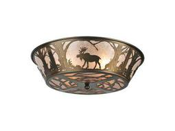 Meyda Tiffany Northwood's Moose At Dawn Four-Light Flush Mount Light
