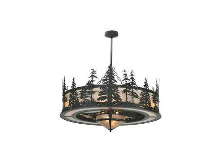 Meyda Tiffany Tall Pines with Fan Light Ten-Light Chandel-Air