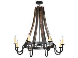 Meyda Tiffany Barrel Stave Madera Eight-Light 43 Wide Chandelier