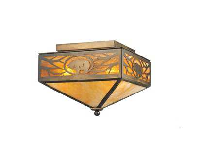 Meyda Tiffany Lone Grizzly Bear Four-Light Flush Mount Light