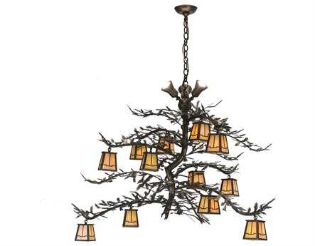 Meyda Tiffany Pine Branch Valley View 15-Light 52 Wide Grand Chandelier