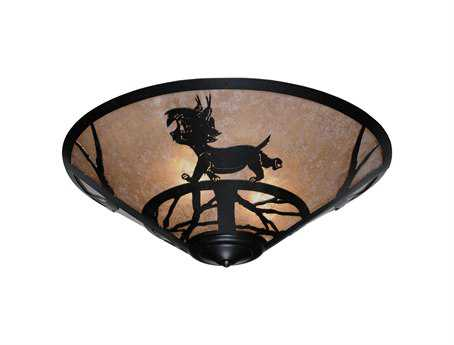 Meyda Tiffany Lynx On The Loose Three-Light Flush Mount Light